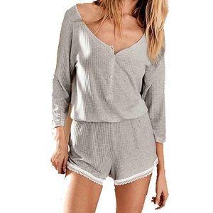 Victoria's Secret Grey Lacy Ribbed Sleep Romper S